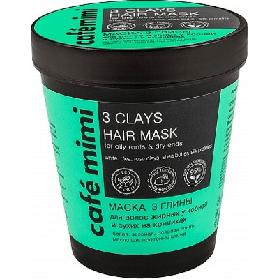 Maska do włosów tłustych u nasady i suchych na końcach - Trzy gliny Cafe Mimi